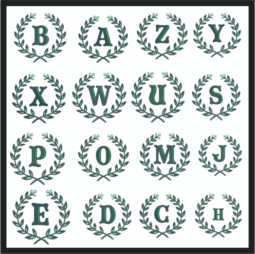 Laurel wreath with Alphabet and number
