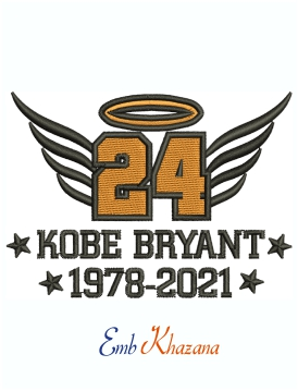 Kobe Bryant 24 Wings logo Machine Embroidery Design
