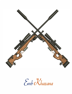 Crossed Guns Embroidery Design