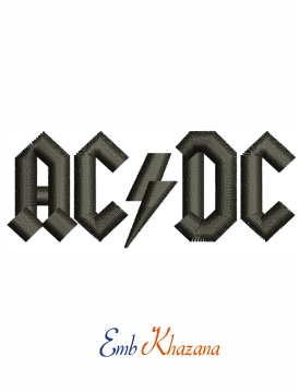 ACDC Rock and Roll logo embroidery design