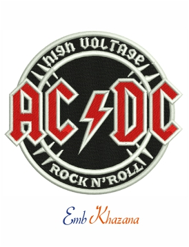 AC DC high voltage rock and roll embroidery design