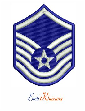 Air force master sergeant rank embroidery design