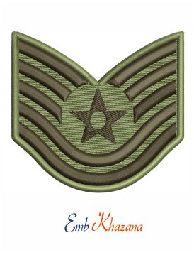 Air force technical sergeant rank embroidery design