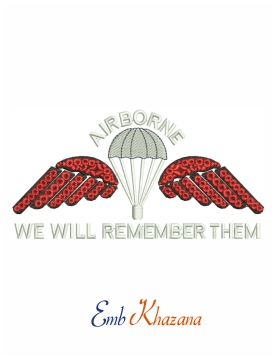 Airborne Jump Wings Embroidery Design