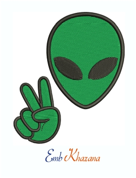 Alien Peace Machine Embroidery Design