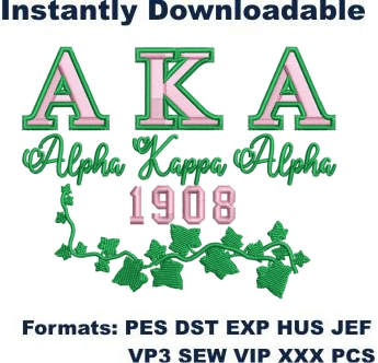 Alpha Kappa Alpha sorority embroidery design