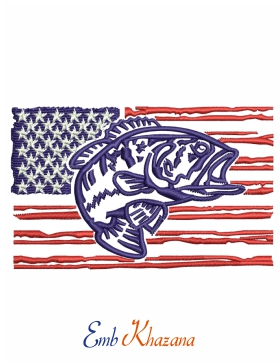 American Flag With Fish