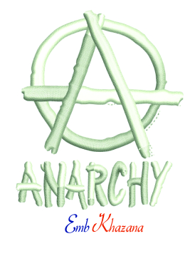 Anarchy Symbol Logo 3d Puff Embroidery Design