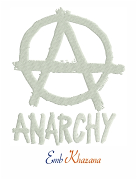 Anarchy Symbol Logo Embroidery Pattern
