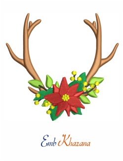 Antler With Flower Embroidery Design