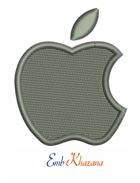 Apple logo embroidery design
