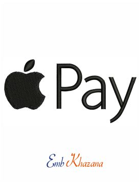 Apple pay logo embroidery design