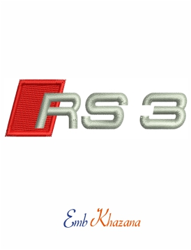 Audi rs3 logo embroidery design