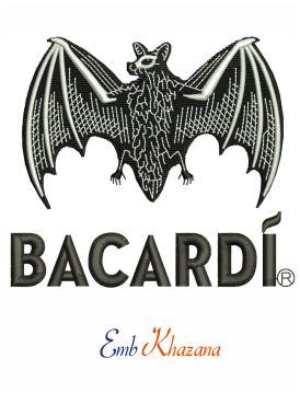 Bacardi bat logo embroidery design