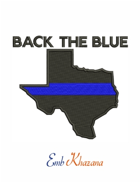 Back the blue in Texas machine embroidery design