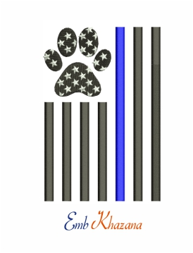 Thin blue line machine embroidery design