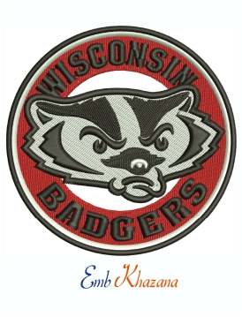 Wisconsin Badgers Football Logo Machine Embroidery Design