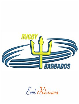 Barbados rugby logo embroidery design
