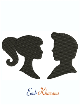 Barbie And Ken Head Silhouette Machine Embroidery Design
