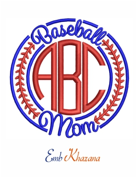 Baseball Mom Monogram embroidery design