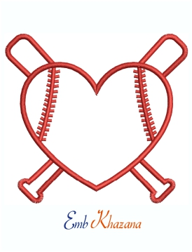 Heart shaped Baseball Cross Logo Machine Embroidery Design