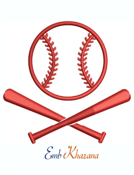 Baseball Cross Bats Logo Machine Embroidery Design
