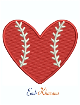 Baseball Red Heart Logo Machine Embroidery Design