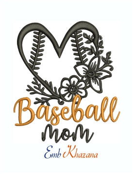Baseball Mom Flower Heart Logo Machine Embroidery Design