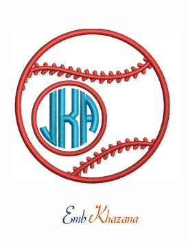 baseball Monogram embroidery design