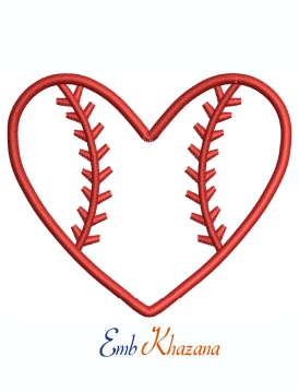 Baseball Heart Shaped Logo Machine Embroidery Design