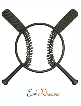 Baseball Cross Bats Black Logo Machine Embroidery Design