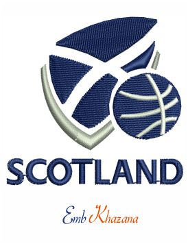 Basketball Scotland logo embroidery design