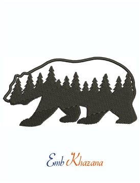 Bear With Pine Forest Logo Machine Embroidery Design