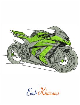 Bike image embroidery design