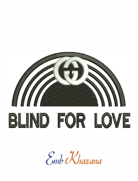 Gucci Blind for love machine embroidery design