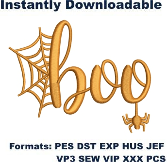 Boo Halloween Face embroidery design