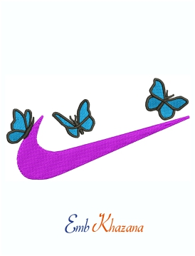 Nike Logo With Butterfly Machine Embroidery Design