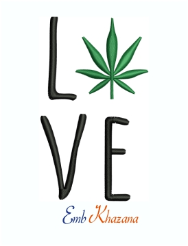Cannabis Marijuana Love Leaf Machine Embroidery Design