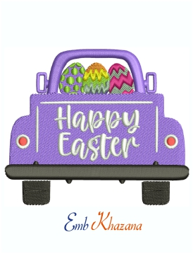 Happy Easter On Car Back Embroidery Design