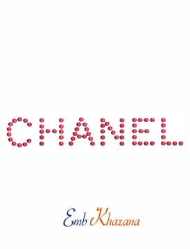 Channel logo with red dots machine embroidery design