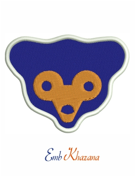 Chicago Cubs bear face logo embroidery design