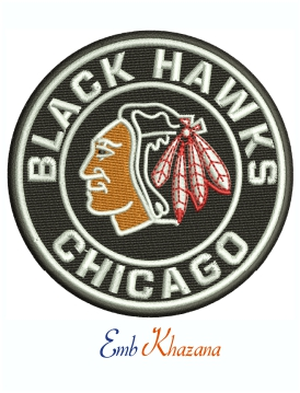 Chicago Black Hawks Logo Machine Embroidery Design
