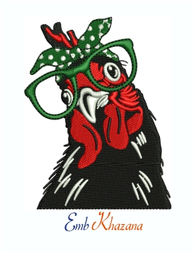 Chicken With Bandana Glasses Machine Embroidery Design