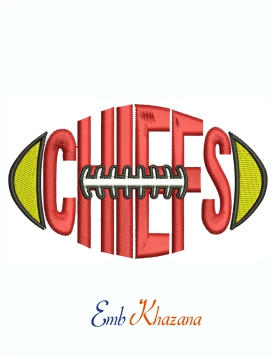Chiefs Football logo Machine Embroidery Design