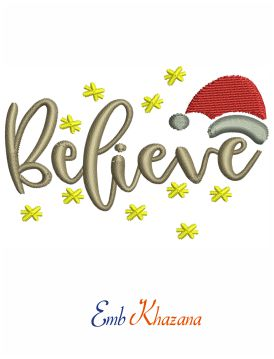 Christmas Believe embroidery design