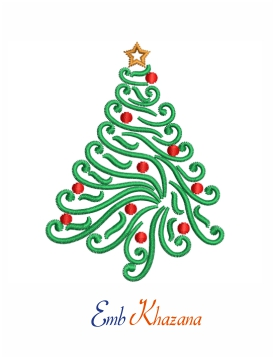 Christmas Tree Swirl embroidery design