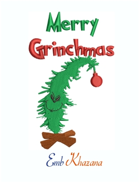 Merry Grinchmas Tree Machine Embroidery Design