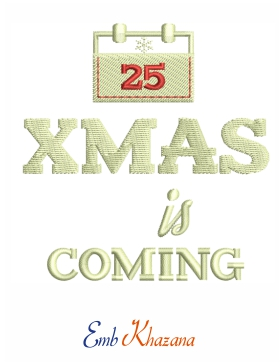 Christmas is coming embroidery design free