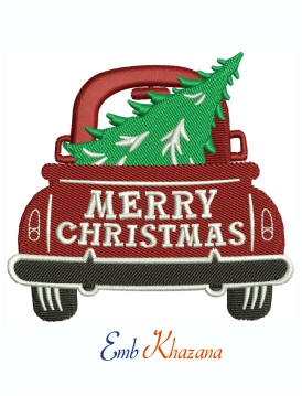Christmas Truck Machine Embroidery Design