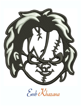 Chucky Evil Doll Horror Face Machine Embroidery Design